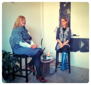 Check out that investment sweater! Me being interviewed by Tina of Women In Leadership, Ottawa.
